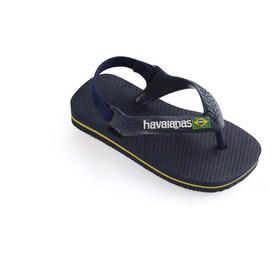 havaianas Brasil Logo II Sandals Baby Navy Blue/Citrus Yellow